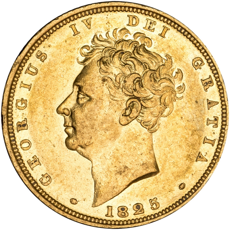1825 George IV Bare Head Sovereign Attractive Gold Tone