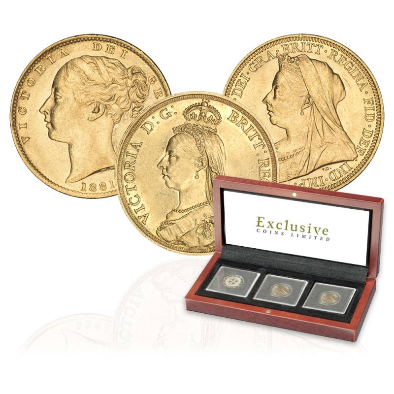 Queen Victoria Three Coin Portrait Collection
