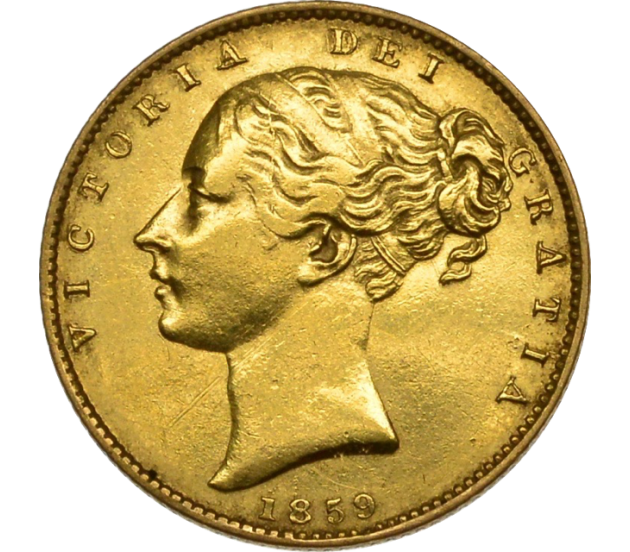 1859 Ansell Queen Victoria Shield Reverse Sovereign