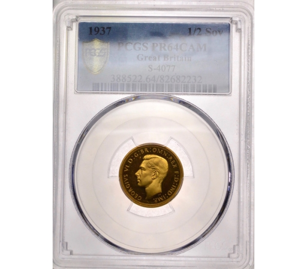 1937 King George VI Slabbed Proof Gold Half Sovereign