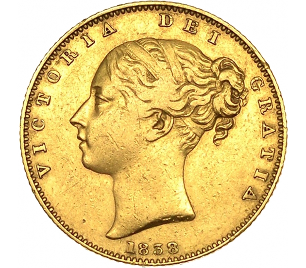 1838 Queen Victoria First-Head Shield Sovereign
