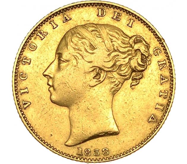 1838 Queen Victoria First-Head Shield Sovereign