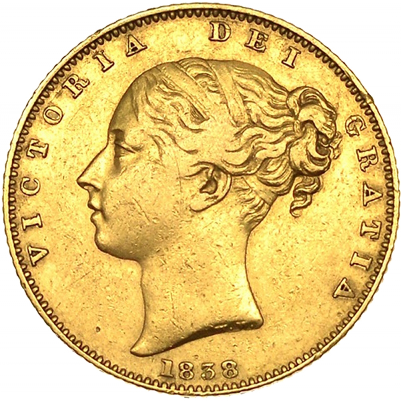 1838 Queen Victoria First-Head Shield Reverse Sovereign