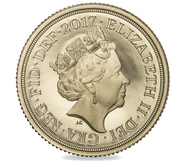 2017 Queen Elizabeth II Brilliant Unc Gold Plain Edge First day Strike Sovereign