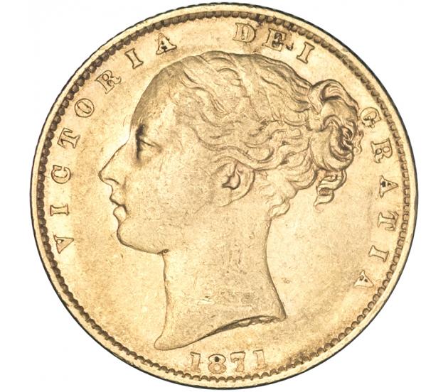1871 Queen Victoria London Shield Reverse Sovereign