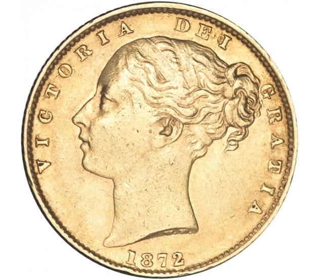 1872 Queen Victoria London Shield Reverse Sovereign