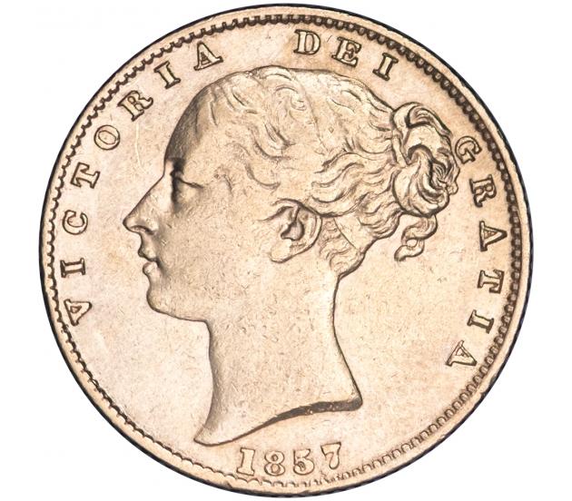 1857 Queen Victoria Shield Reverse Sovereign