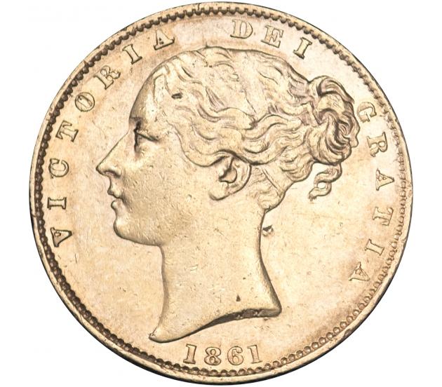 1861 Queen Victoria Shield Reverse Sovereign