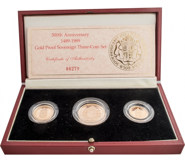1989 Queen Elizabeth II Tudor Rose Gold Proof Sovereign Collection