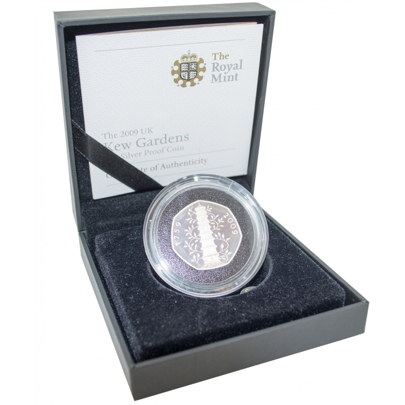 2009 UK Silver Proof Kew Gardens Fifty Pence, 50p