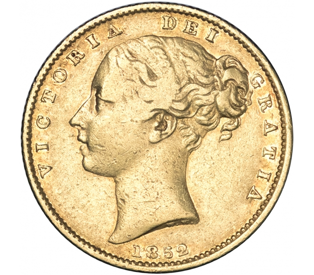 1852 Queen Victoria Shield Reverse Sovereign