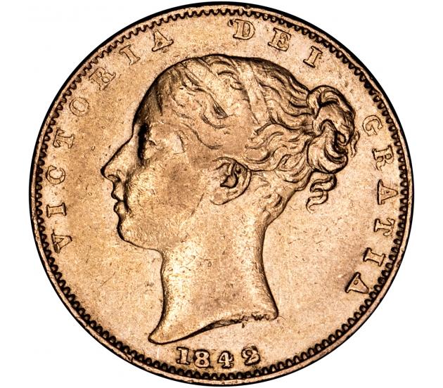 1842 Queen Victoria Shield Reverse Sovereign