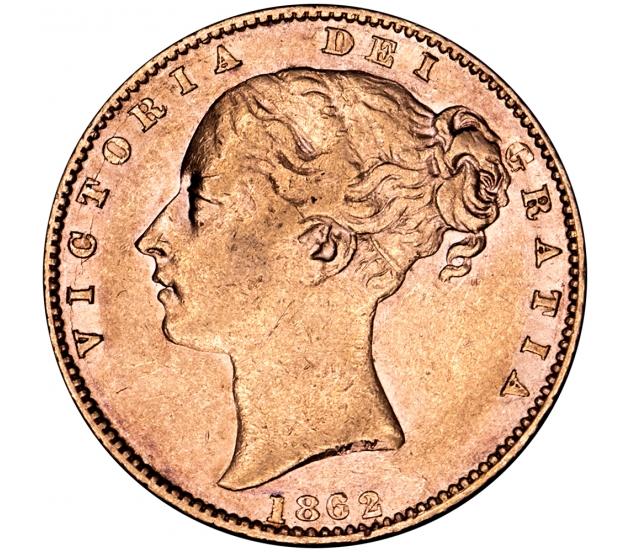 1862 Queen Victoria Shield Reverse Sovereign