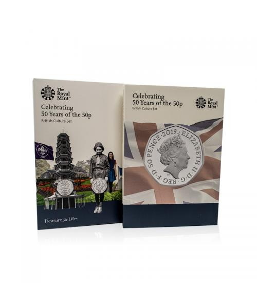 An image of the 50 Years of the 50p Brilliant Uncirculated Coin Set