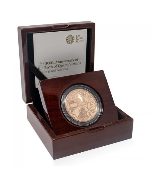 Queen Victoria Gold Proof £5 Coin