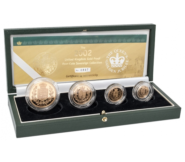 2002 Queen Elizabeth II Gold Proof Four Coin Collection
